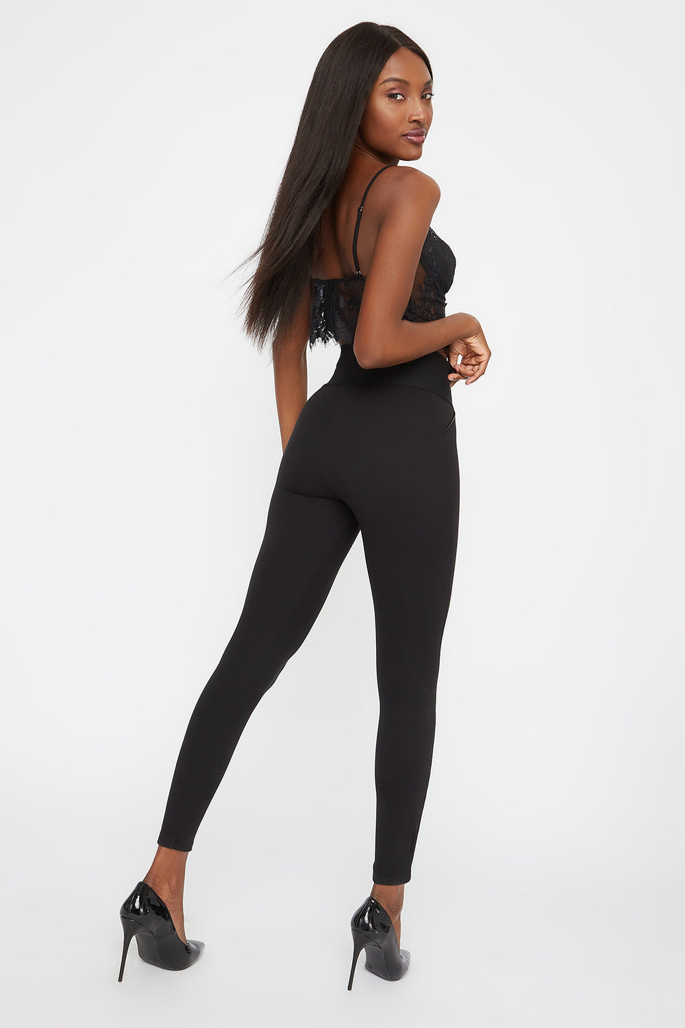 Soft Button Legging Black