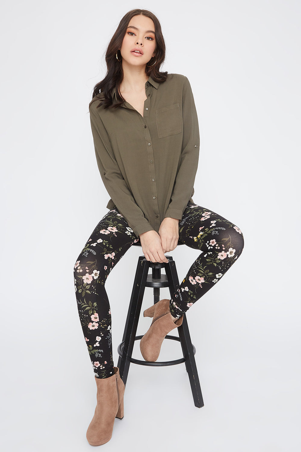 Floral Printed Basic Soft Legging Multi