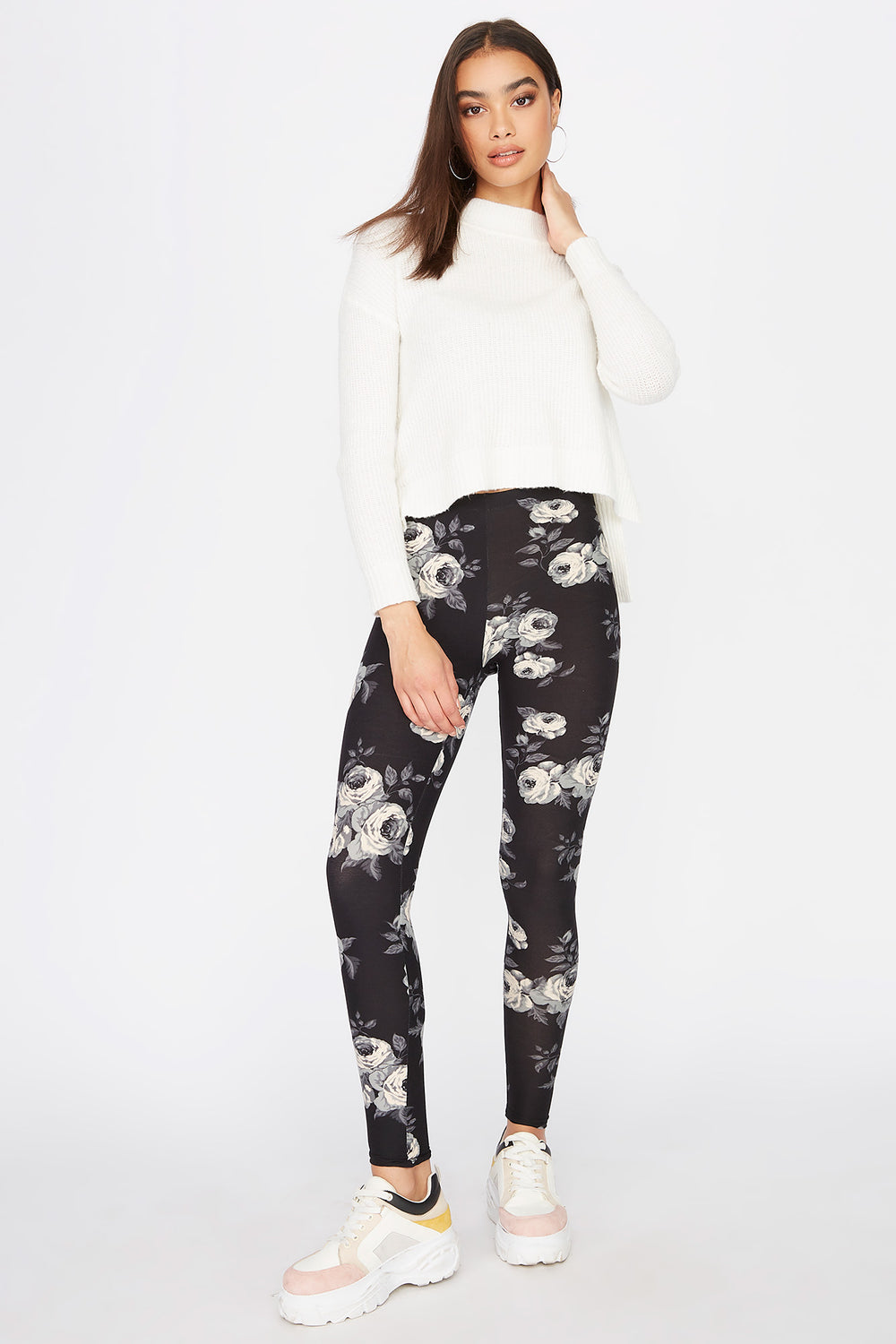 Floral Soft Legging Black with White