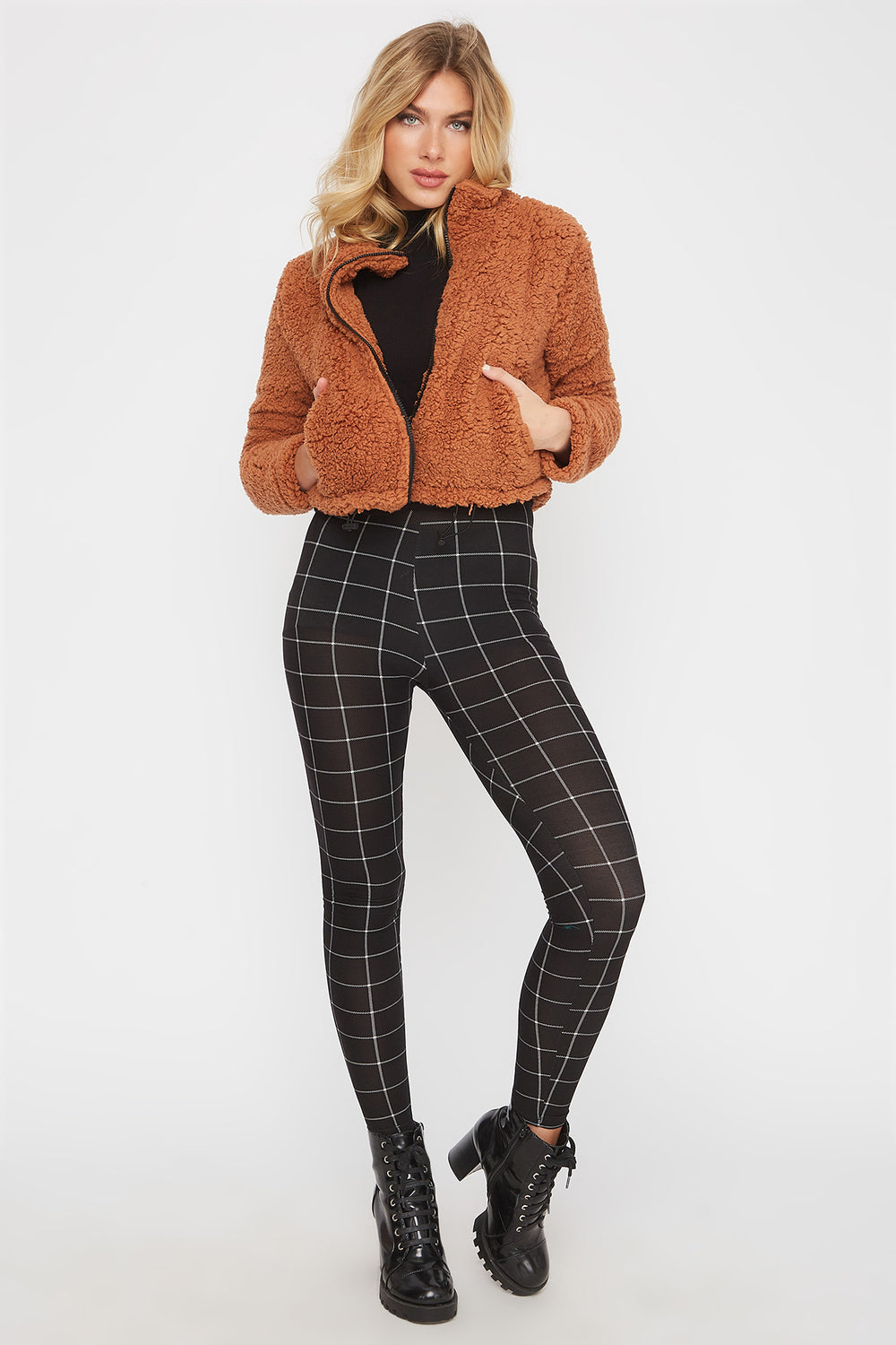 Plaid Soft Basic Legging Black