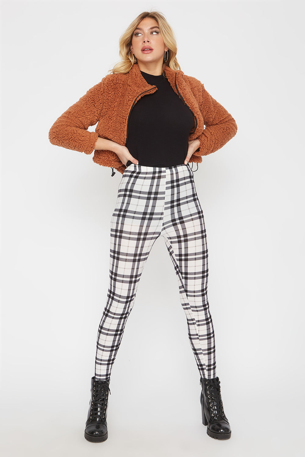 Plaid Soft Basic Legging Black with White