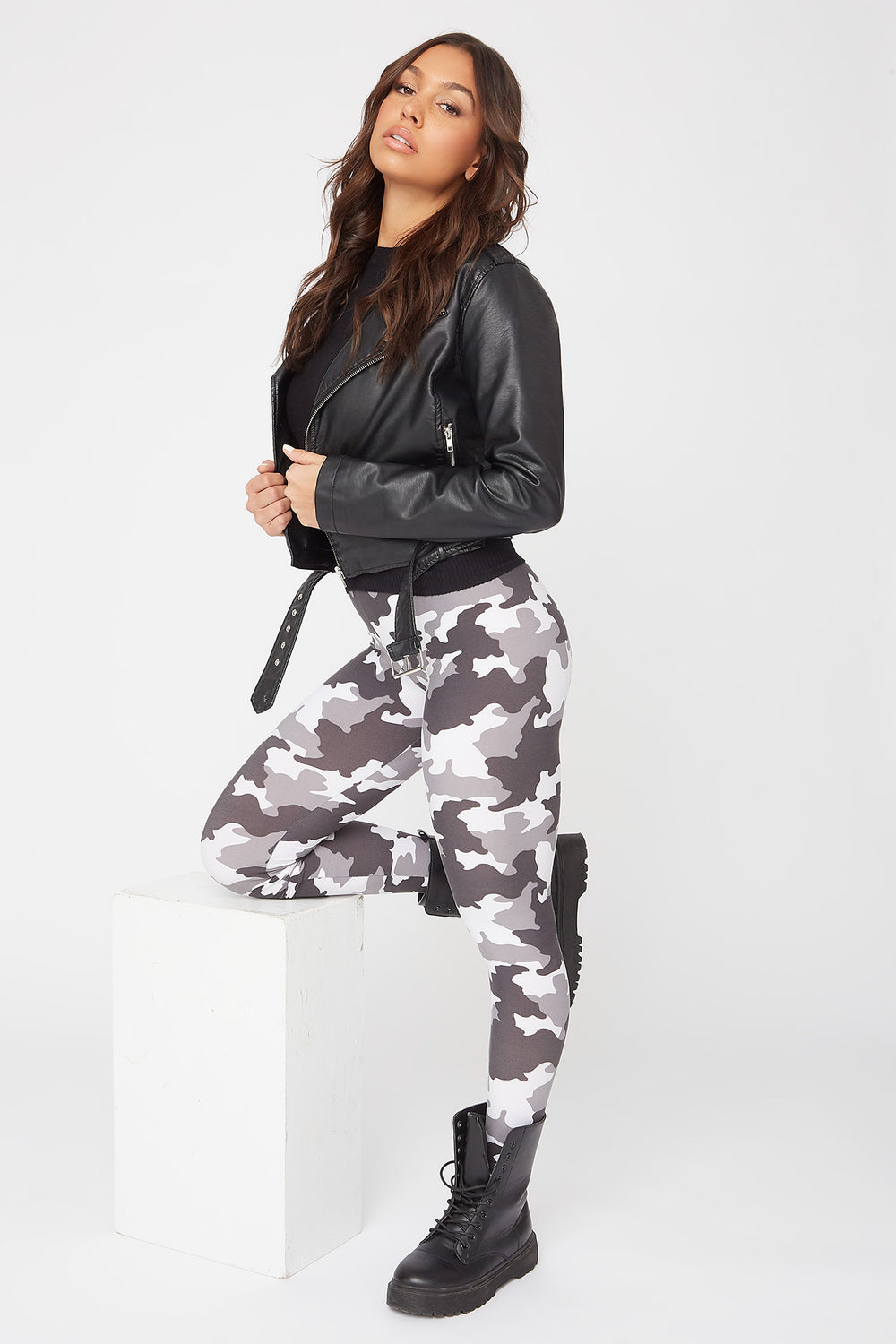 Leggings Estampados Camuflaje Negro y Blanco