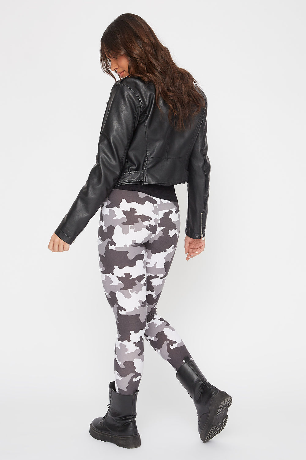Camo Printed Leggings Black with White