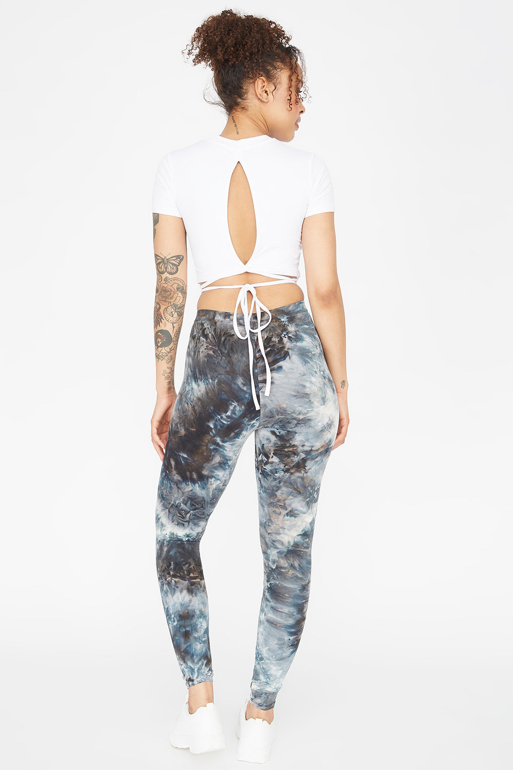 Soft Black and White Tie Dye Legging Black with White