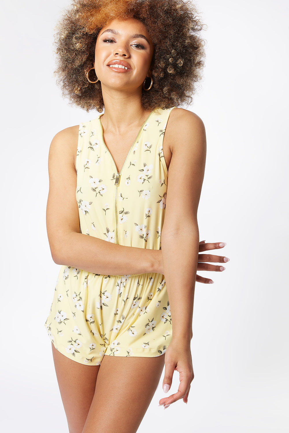 Soft Printed Floral Zip Front Sleeveless Romper Neon Yellow