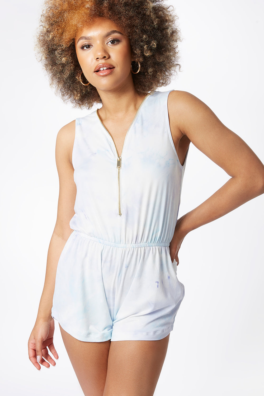 Soft Blue Tie-Dye Zip Front Sleeveless Romper Turquoise