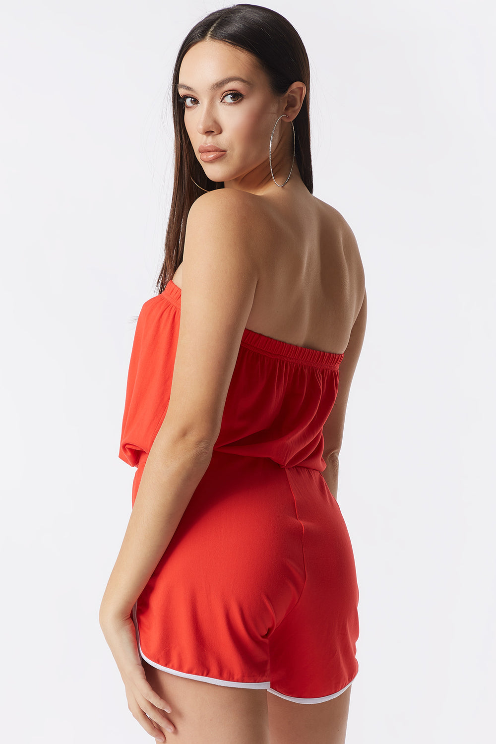 Soft Strapless Drawstring Dolphin Romper Bright Red