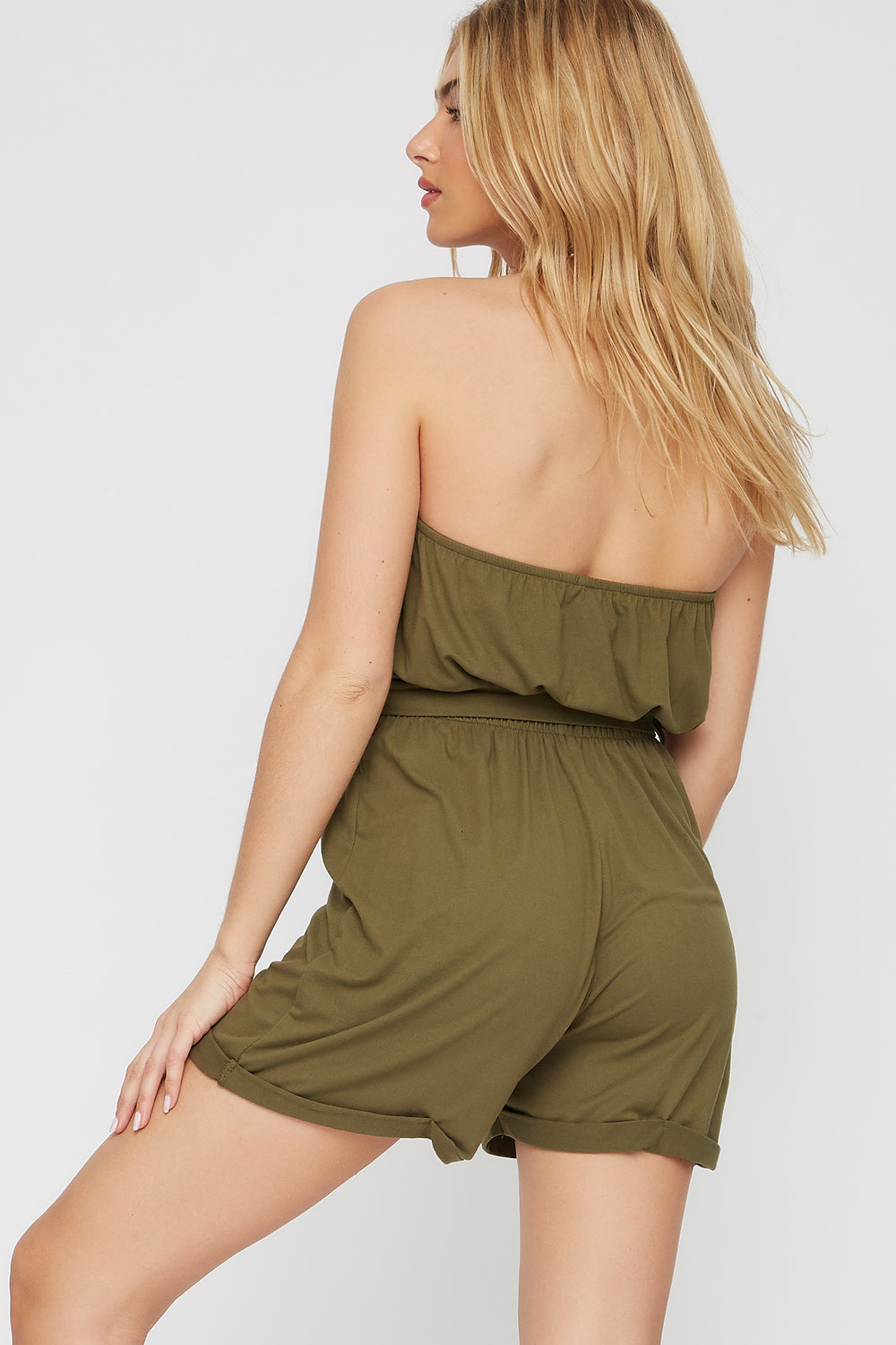 Soft Tube Button Belted Romper Green