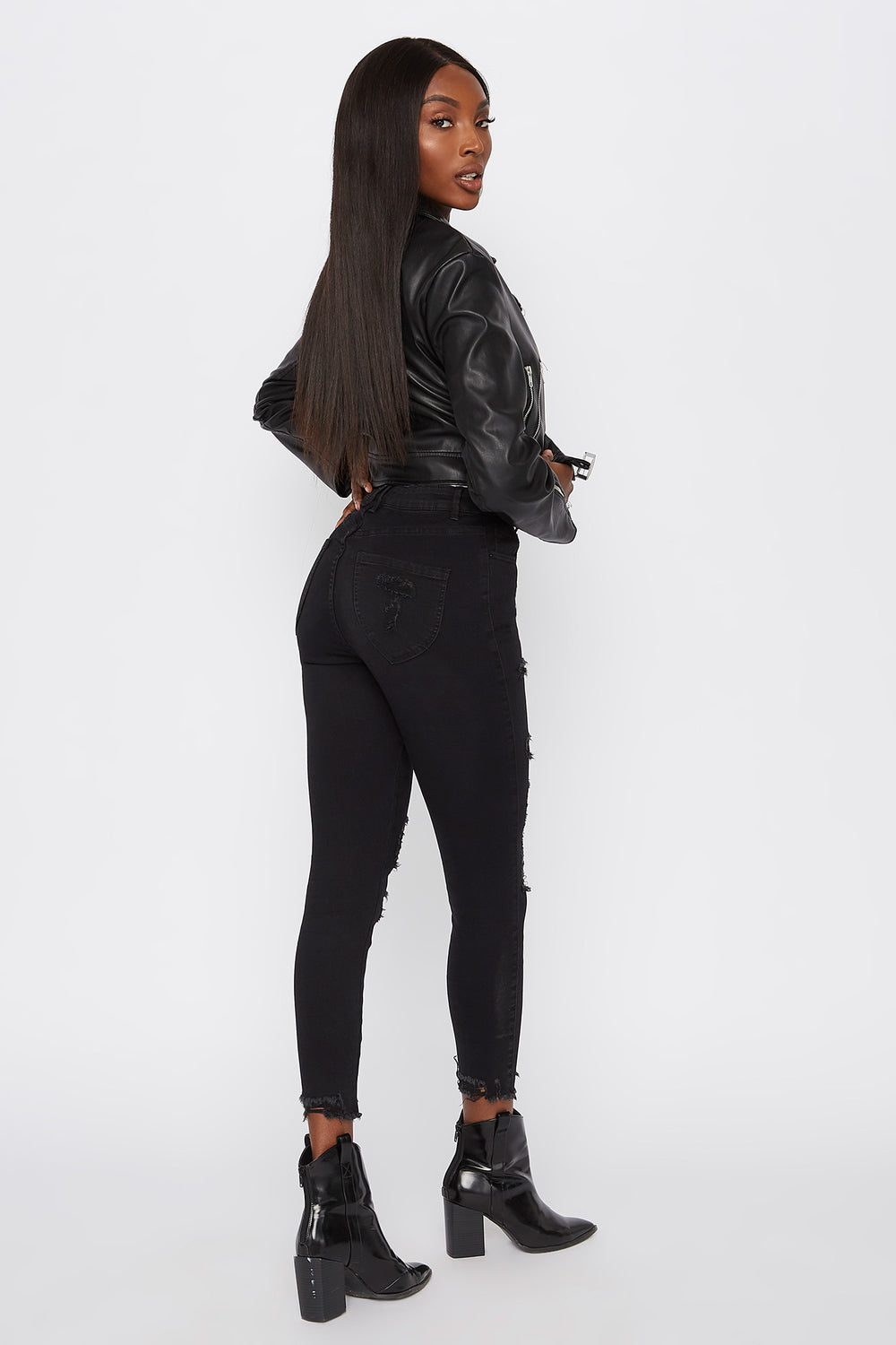 Ultra High-Rise Curvy Distressed Skinny Jean Black