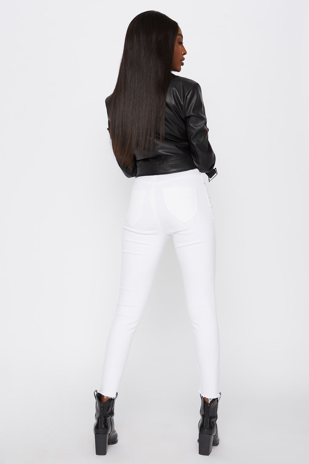 Ultra High-Rise Curvy Distressed Skinny Jean White