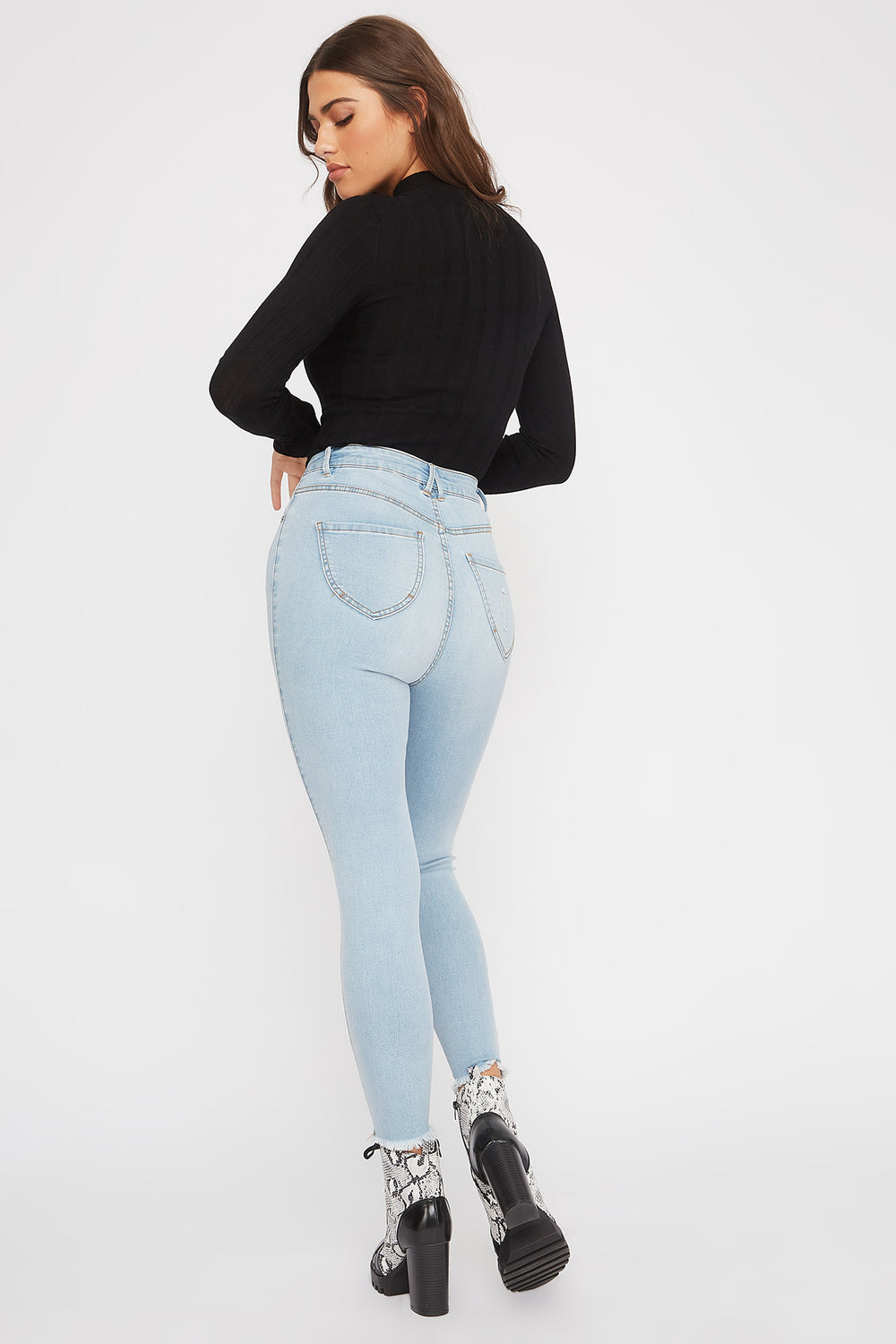 Ultra High-Rise Curvy Distressed Skinny Jean Light Denim Blue