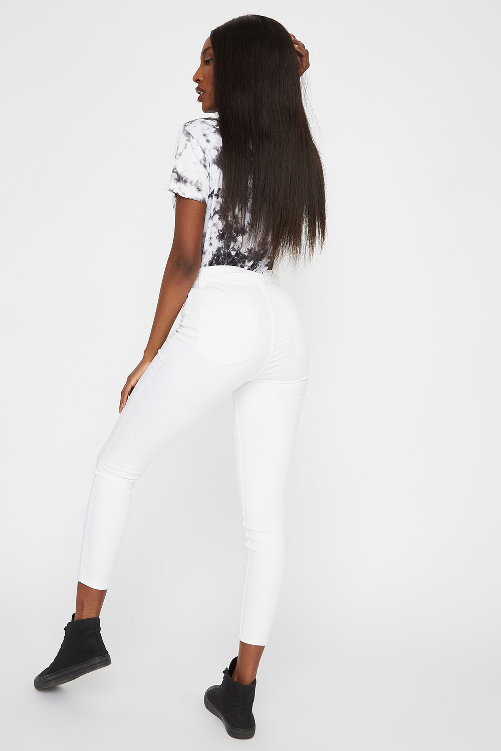 High-Rise Belted Skinny Jegging White