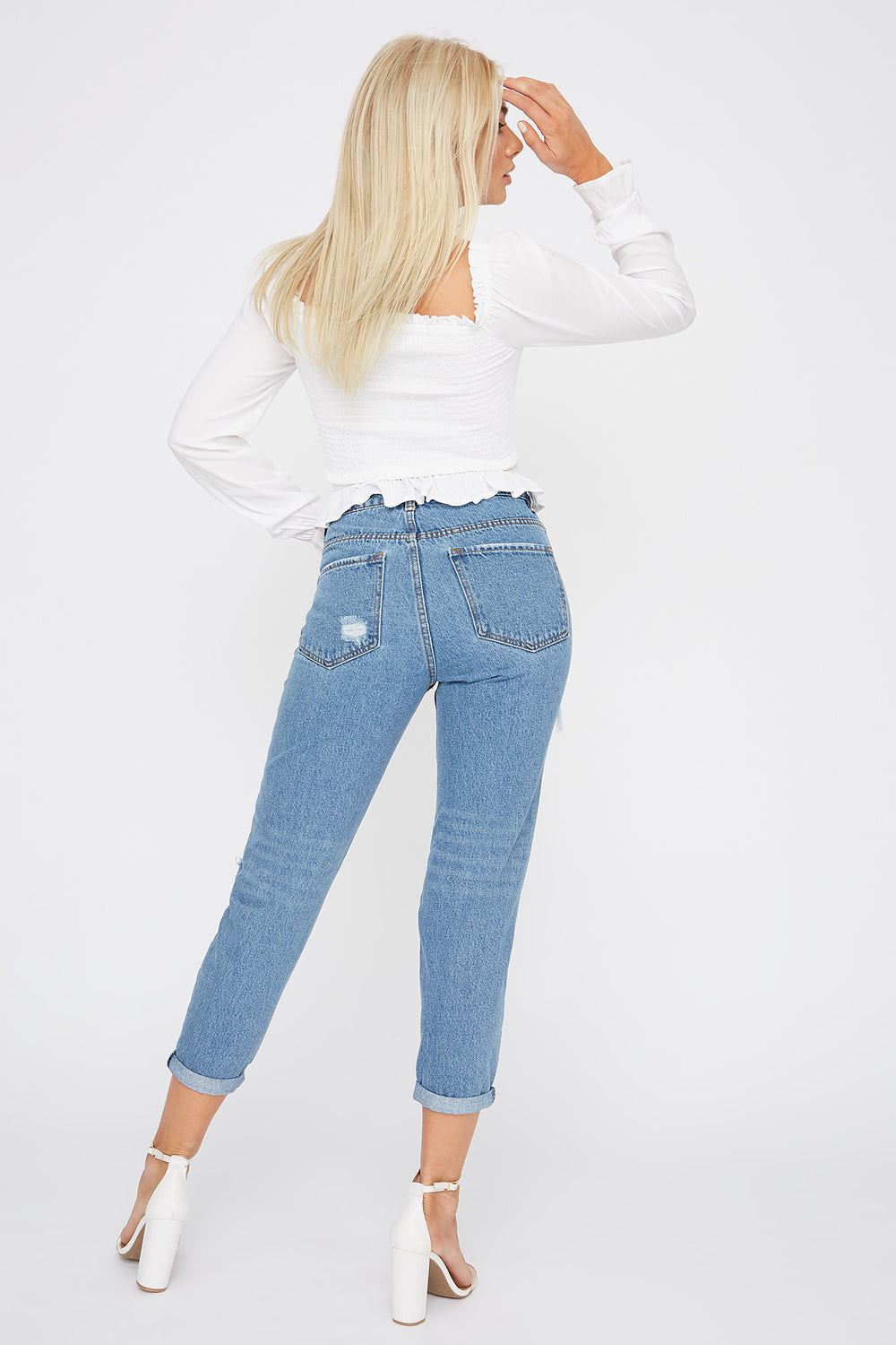 Ultra High-Rise Cuffed Mom Jean Medium Blue