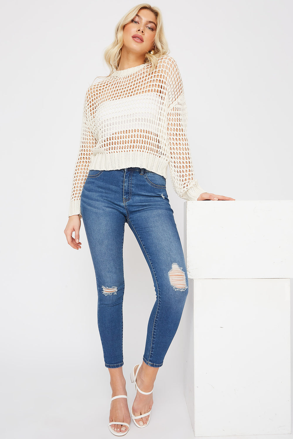 Dark Wash High-Rise Distressed Jegging Denim Blue