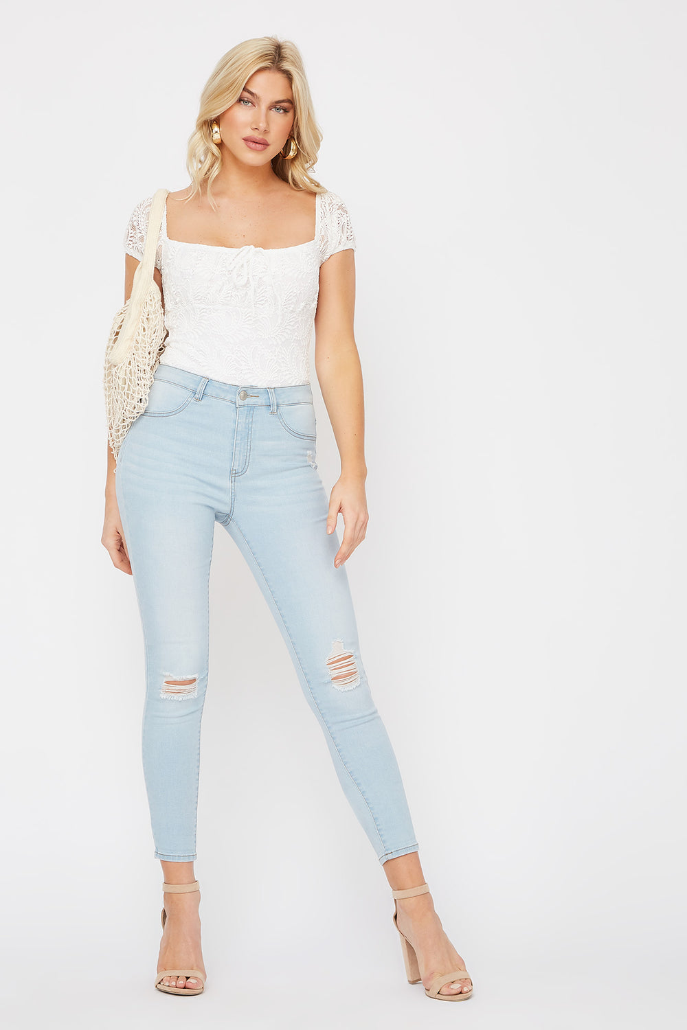 Light Wash High-Rise Distressed Jegging Light Denim Blue