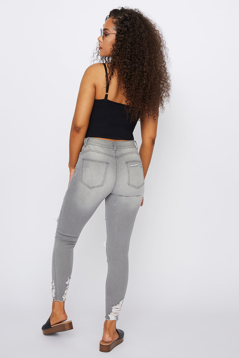 Refuge Rio Mid-Rise Push Up Grey Distressed Skinny Jean Heather Grey