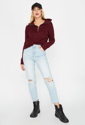 Ultra High-Rise Distressed Mom Jean