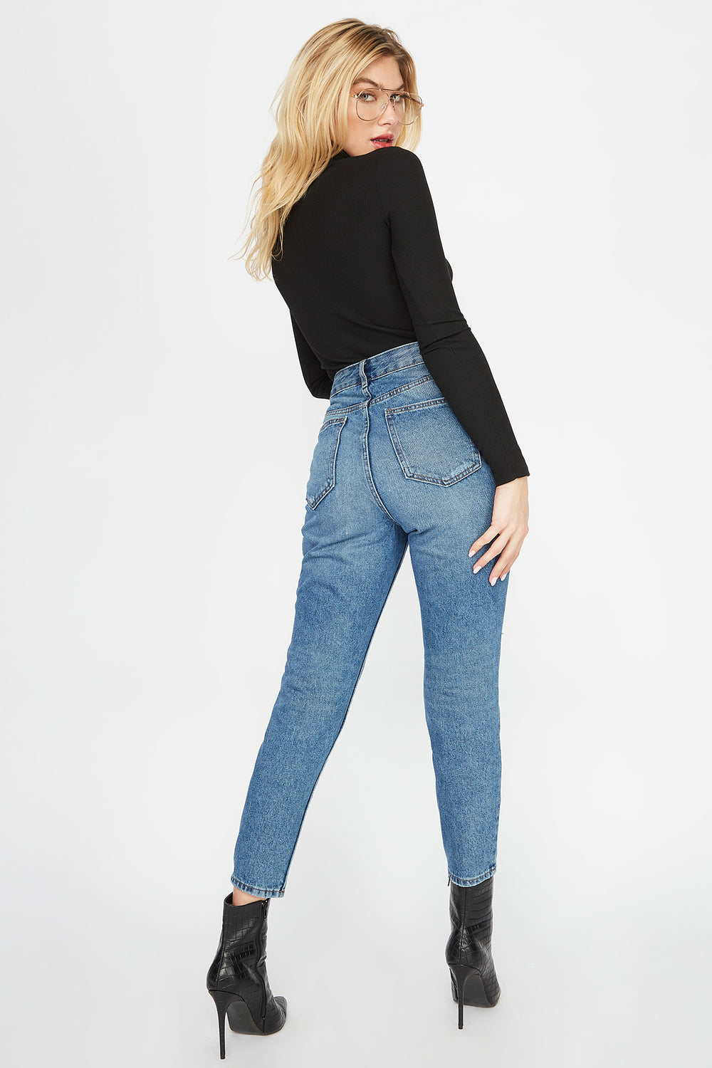 Ultra High-Rise Distressed Mom Jean Denim Blue