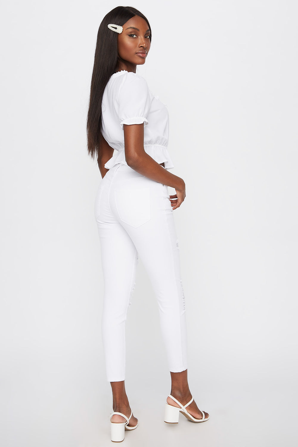 High-Rise Distressed Super Skinny Jean White