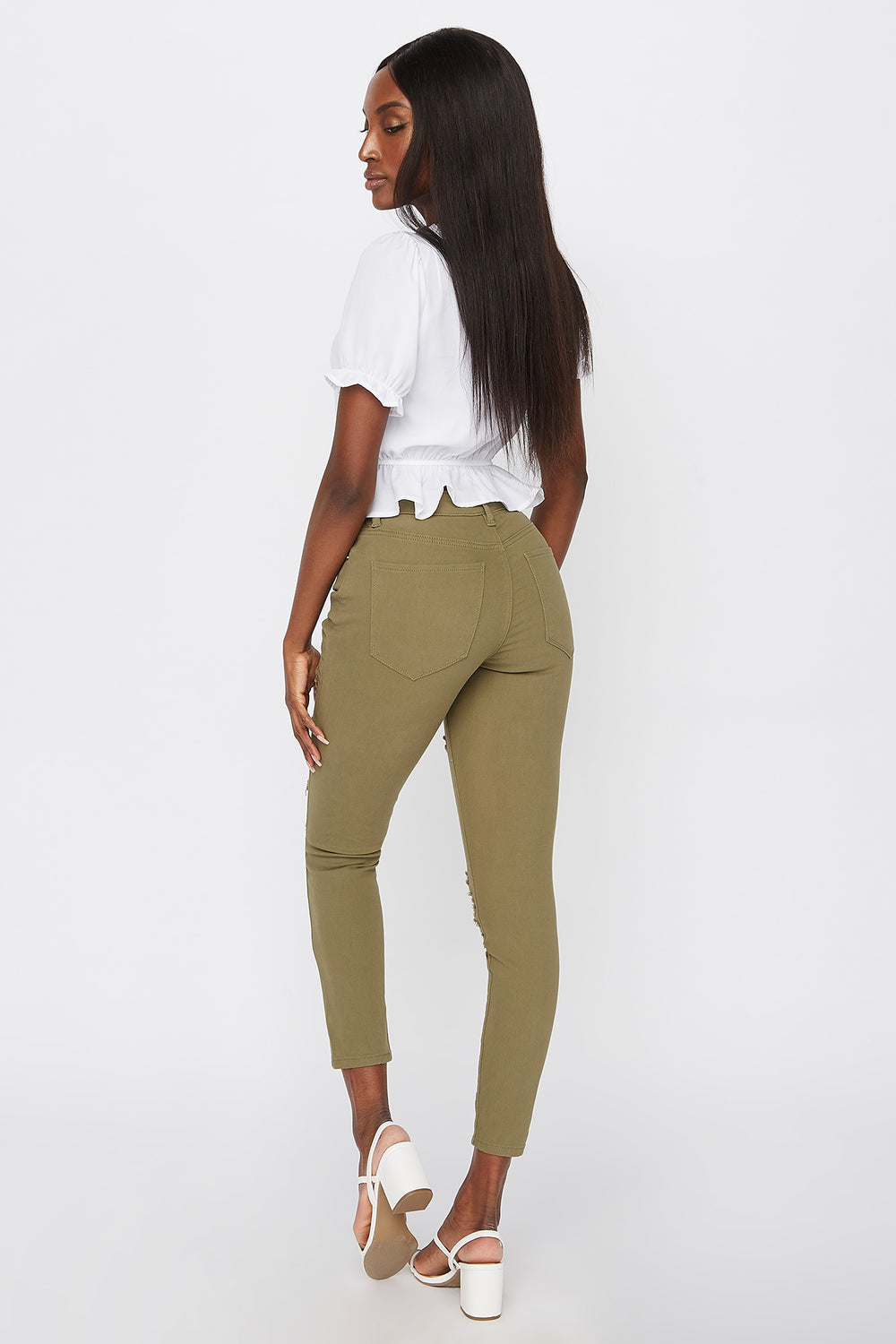 High-Rise Distressed Super Skinny Jean Dark Green