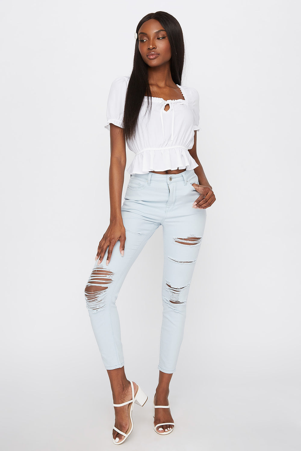 High-Rise Distressed Super Skinny Jean Light Blue