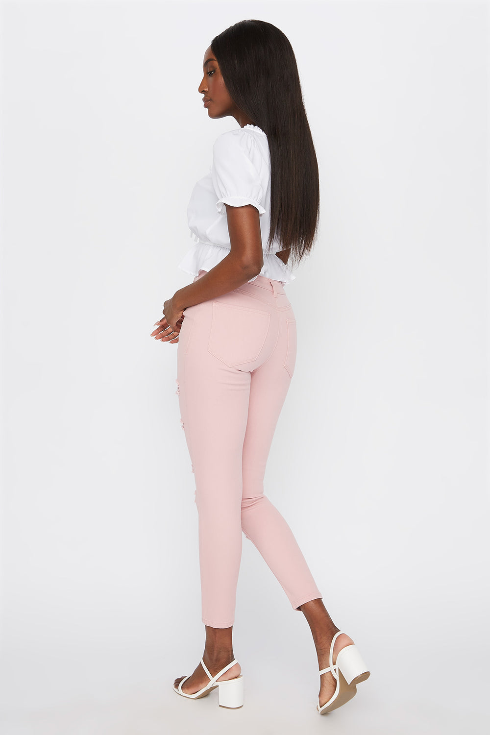 High-Rise Distressed Super Skinny Jean Mauve