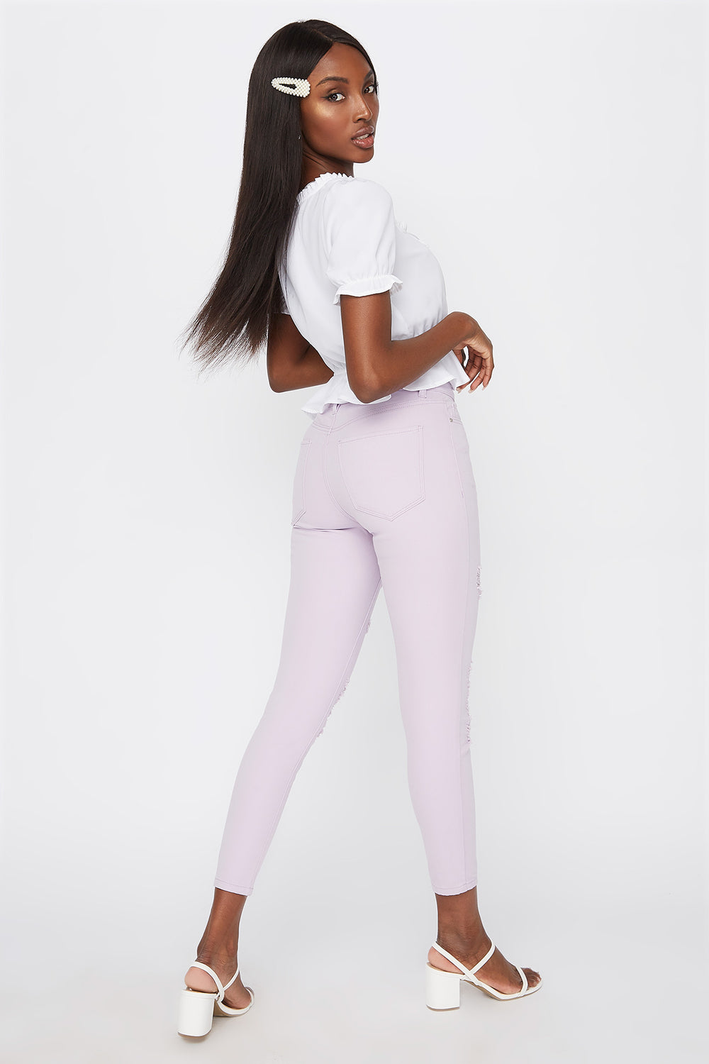 High-Rise Distressed Super Skinny Jean Lilac