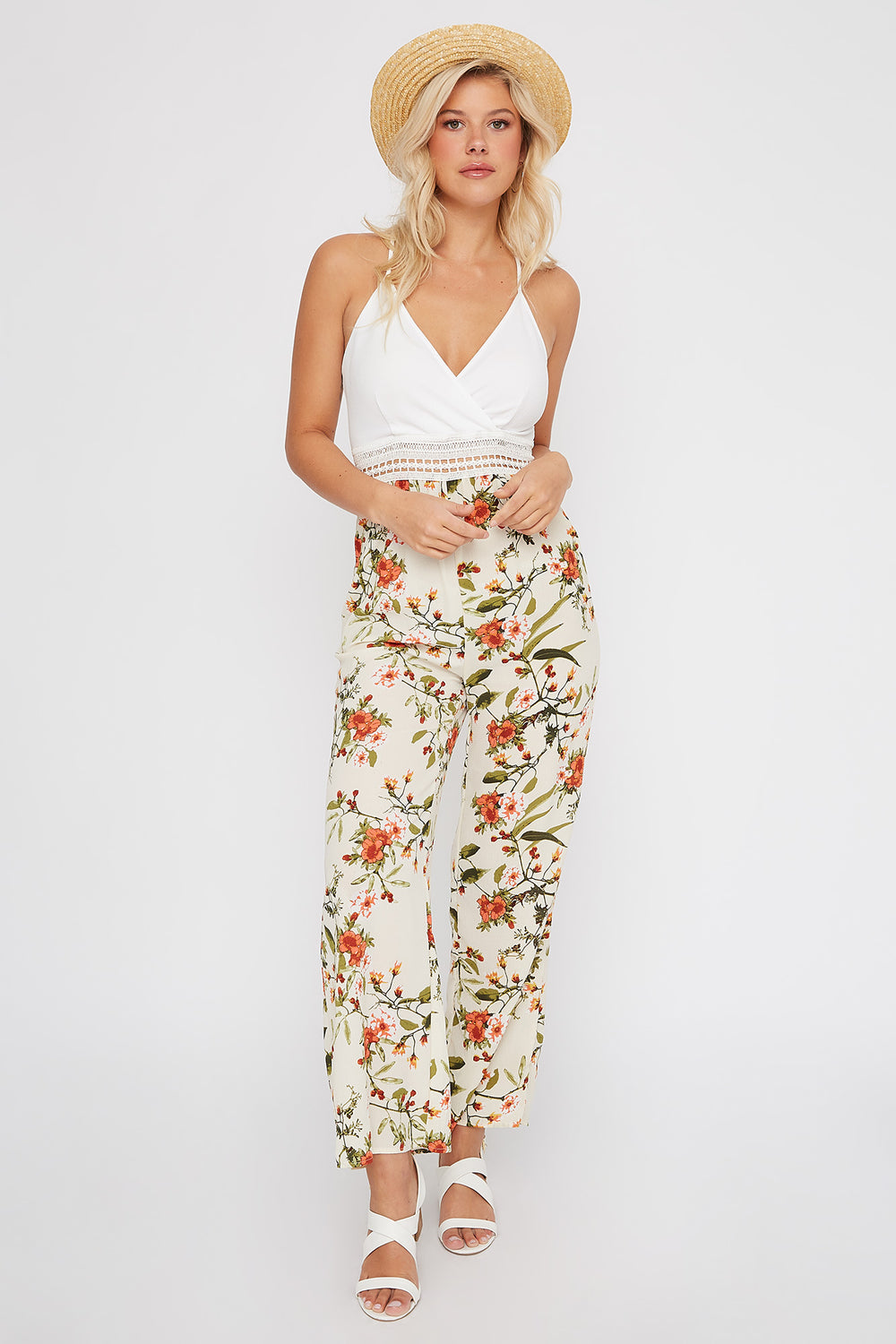 Crepe Printed Contrast Wide Leg Jumpsuit Ivory