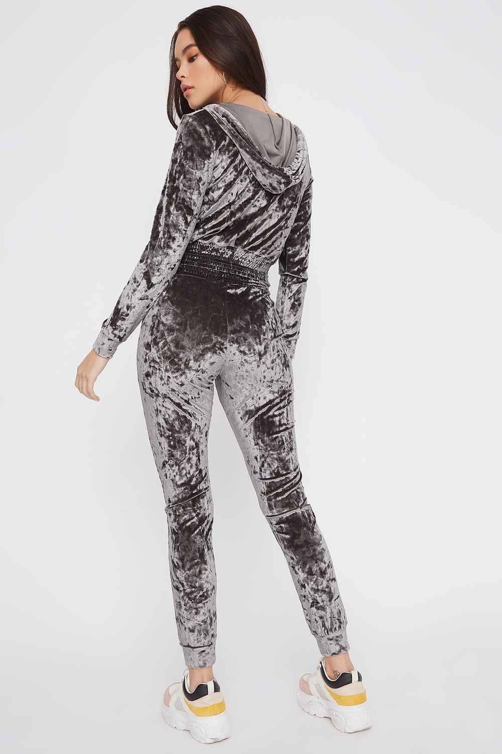 Super Soft Crushed Velvet Pajama Jogger Silver