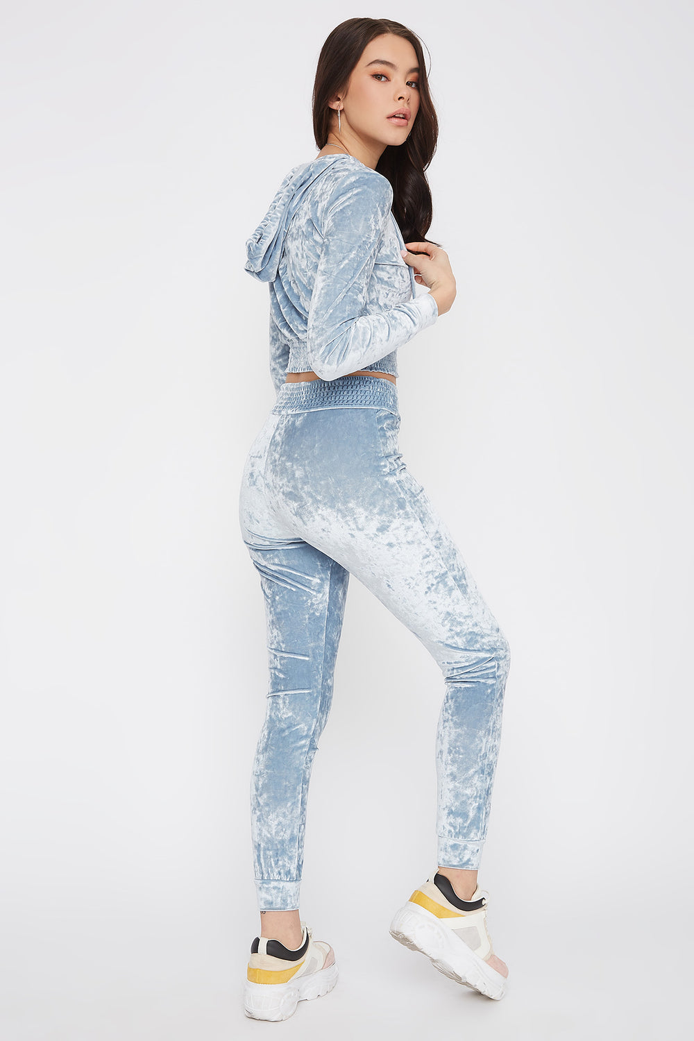 Super Soft Crushed Velvet Pajama Jogger Light Blue