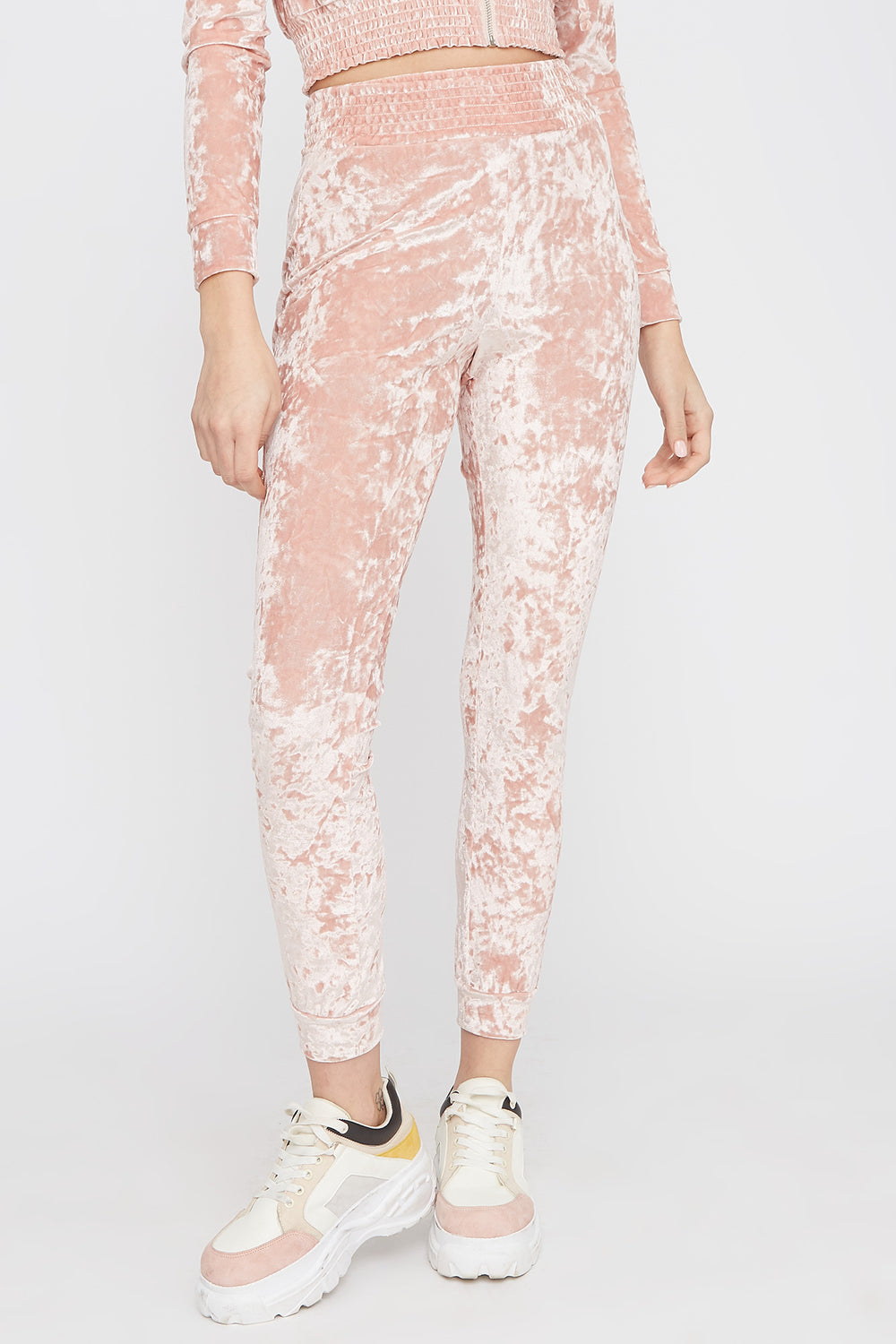 Super Soft Crushed Velvet Pajama Jogger Rose