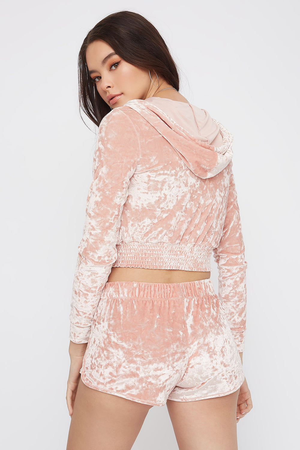 Super Soft Crushed Velvet Pajama Short Rose