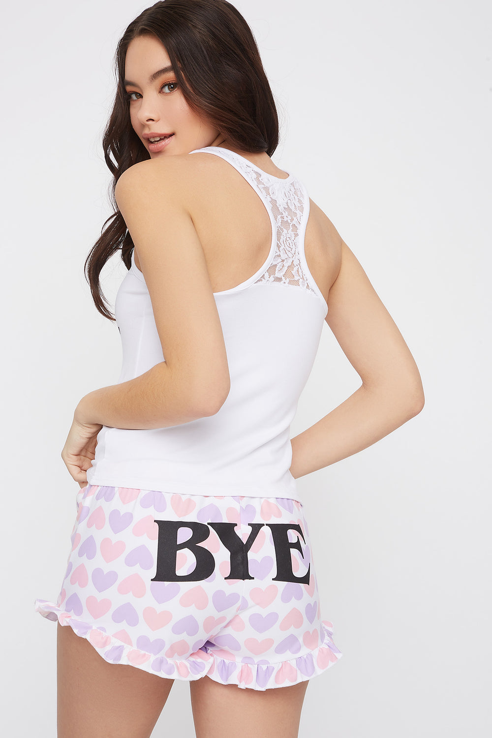 Graphic Lace Racer Back Pajama Tank and Short Set White
