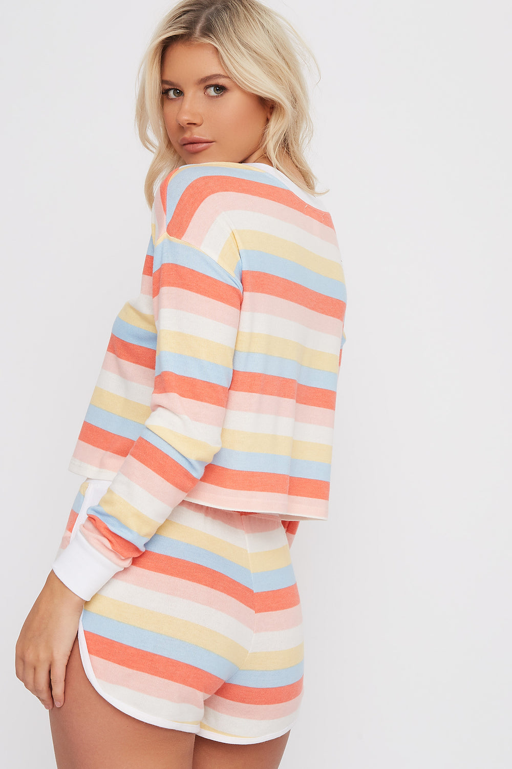 Multicolour Striped Soft Dolphin Sleep Short White