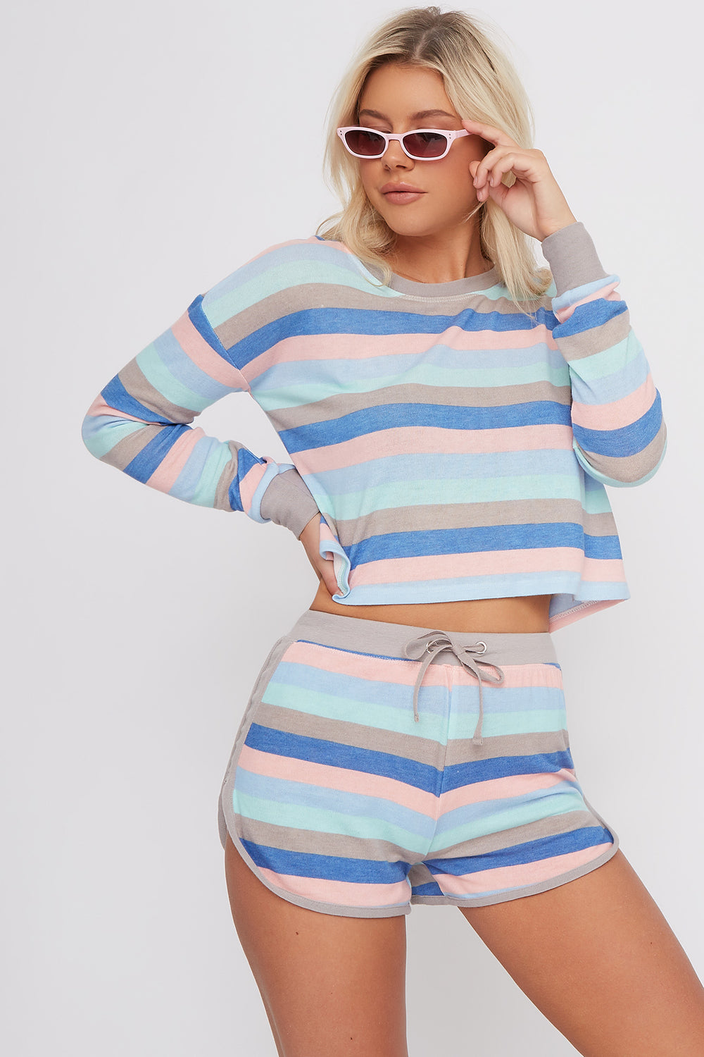 Women Intimates Multicolour Striped Soft Dolphin Sleep Short Blue