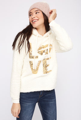 Sherpa Sequin Love Pajama Sweater