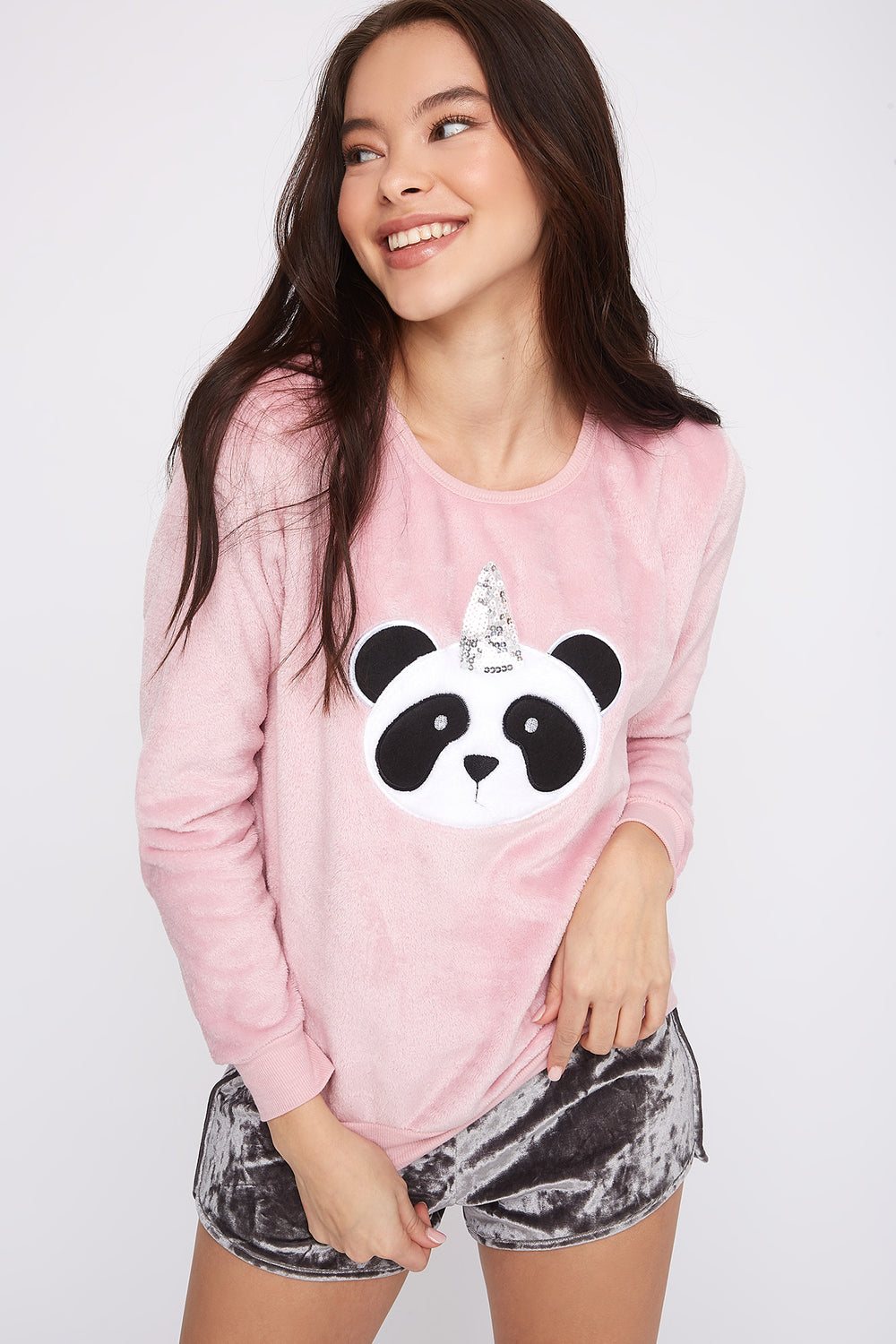 Faux-Fur Sequin Panda Pajama Sweater Pink