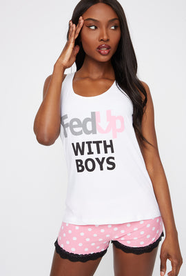 Graphic Fed Up With Boys Tank And Short Pajama Set