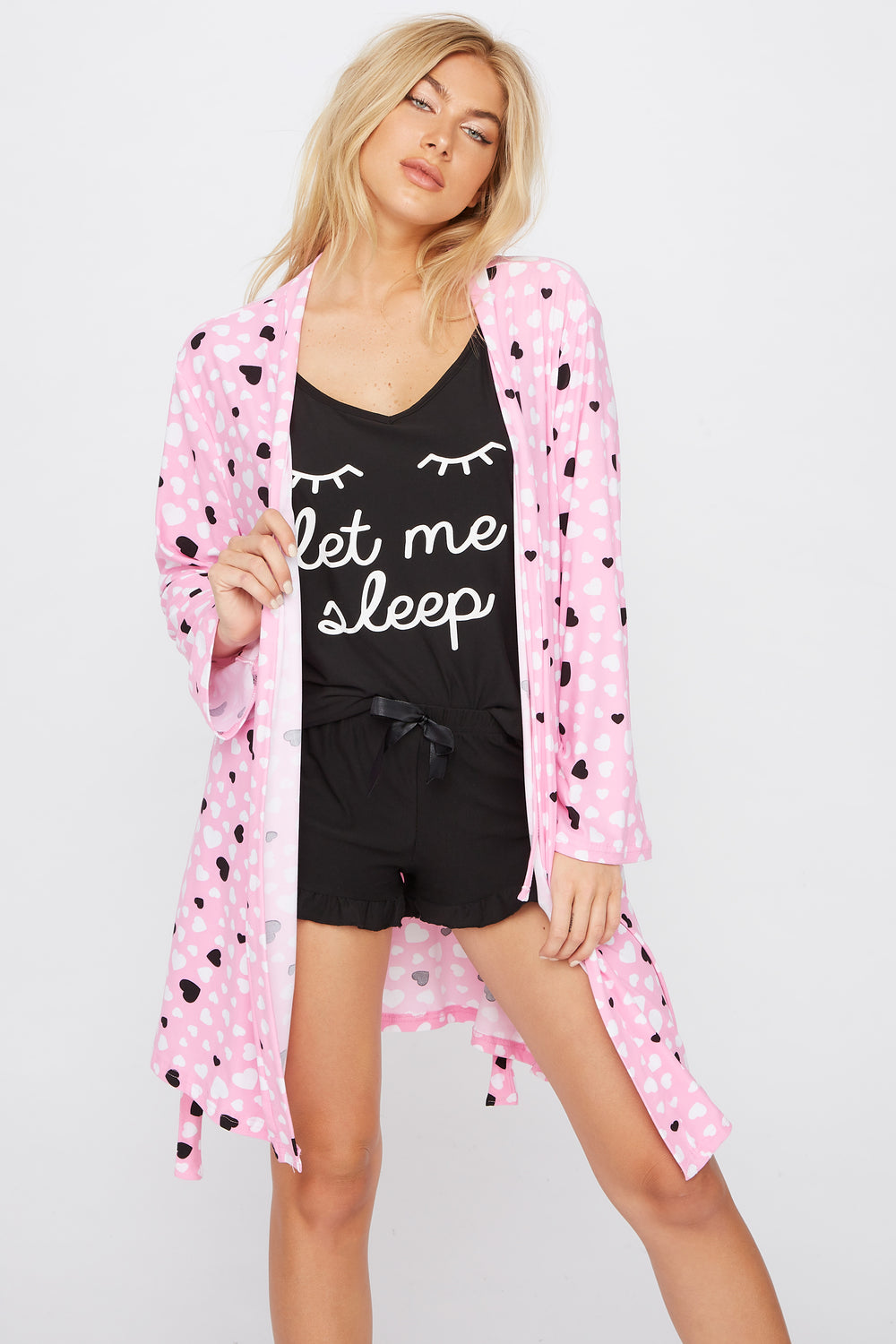 Soft Graphic 3-Piece Robe & Pajama Set Black