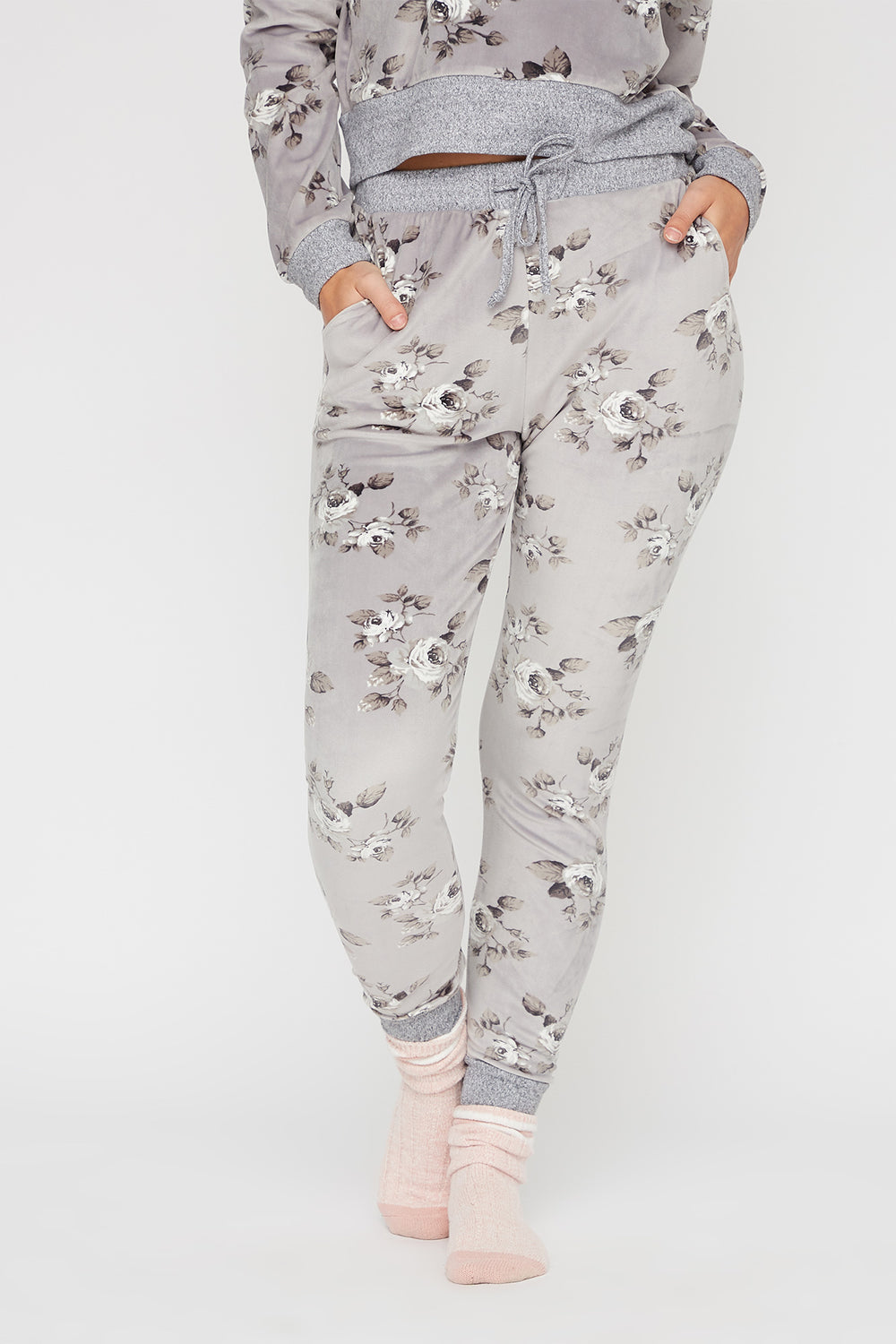 Women Intimates Soft Velour Printed French Terry Pajama Pant Heather Grey