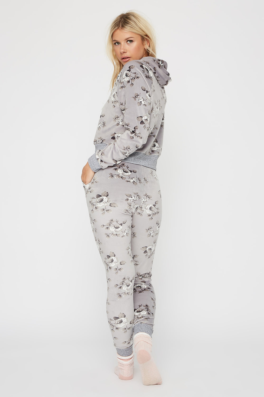 Soft Velour Printed French Terry Pajama Pant Heather Grey
