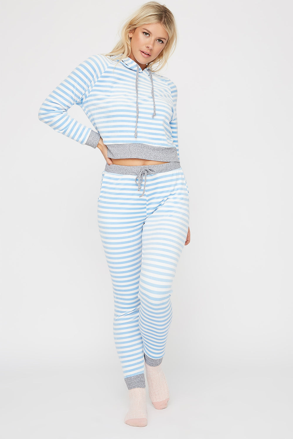 Women Intimates Soft Velour Printed French Terry Pajama Pant Blue