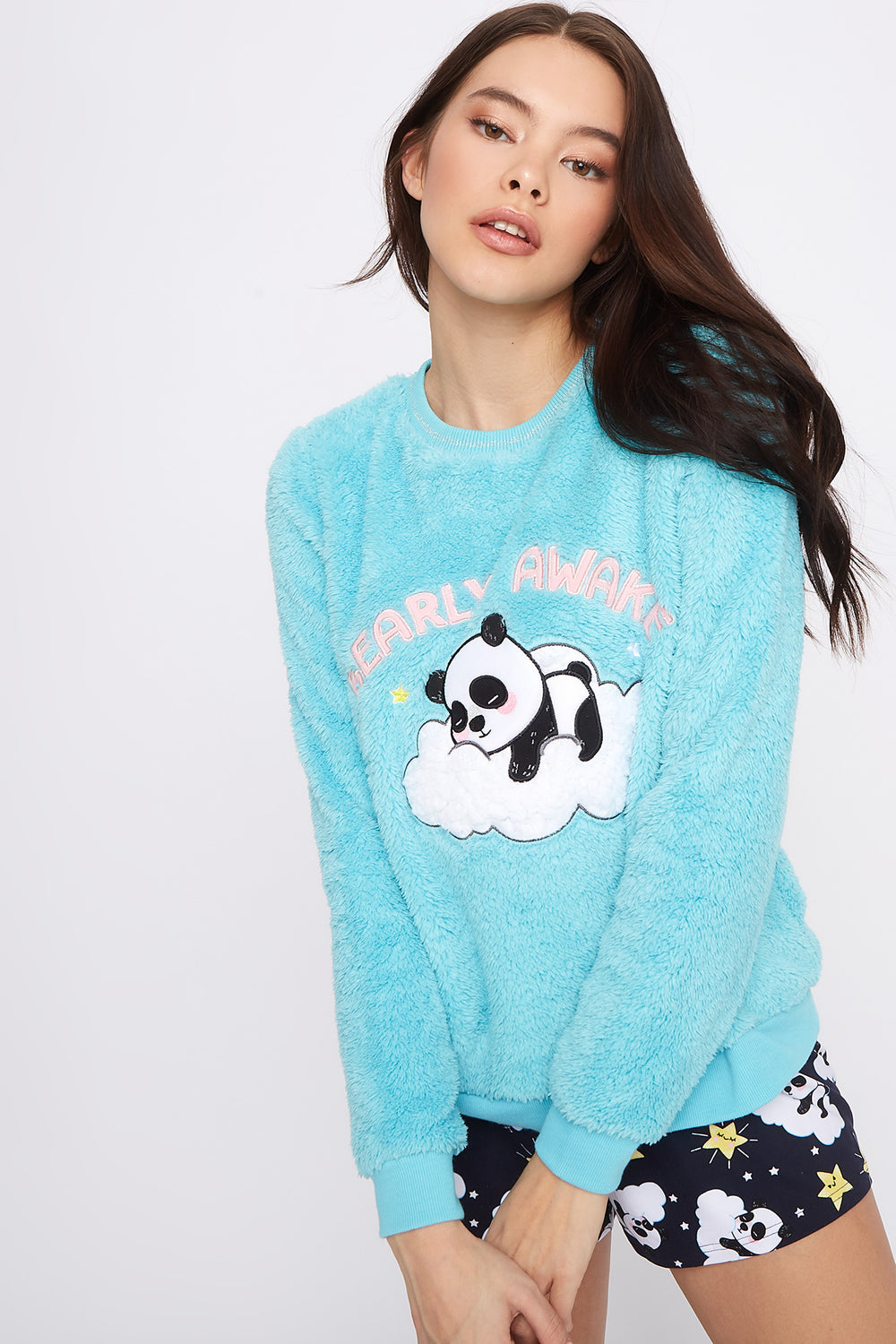 Plush Graphic Crew Neck Pajama Sweater Aqua