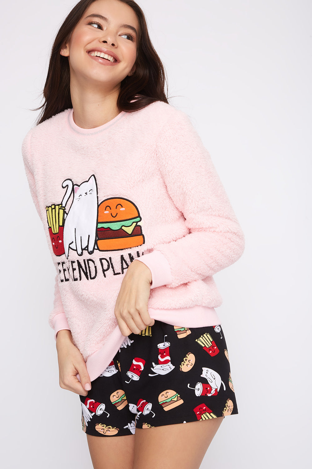 Plush Graphic Crew Neck Pajama Sweater Rose