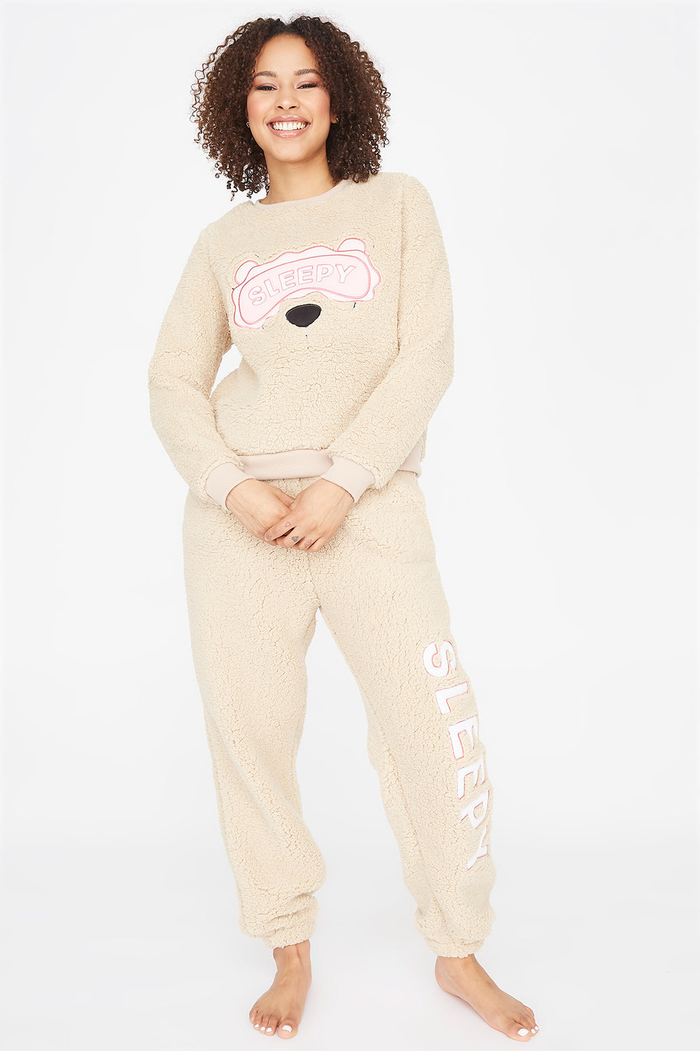 Sherpa Graphic Sleepy Pajama Sweatshirt Beige