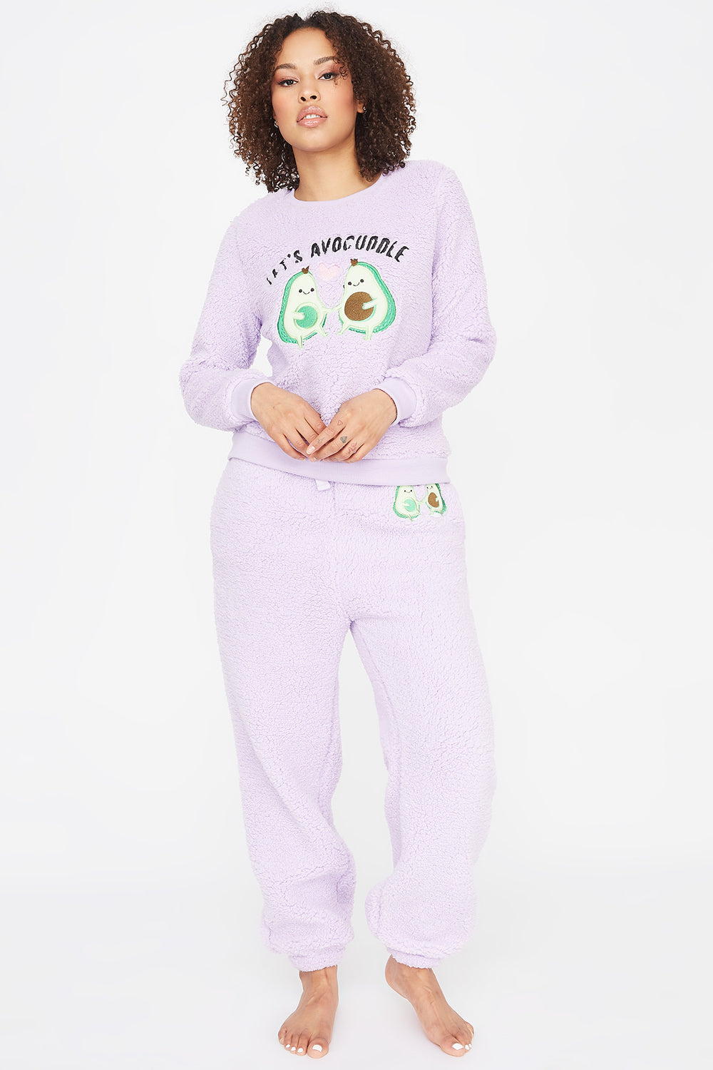 Sherpa Graphic Avocuddle Pajama Sweatshirt Lilac