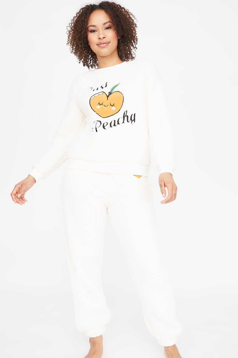 Sherpa Graphic Just Peachy Pajama Jogger Off White