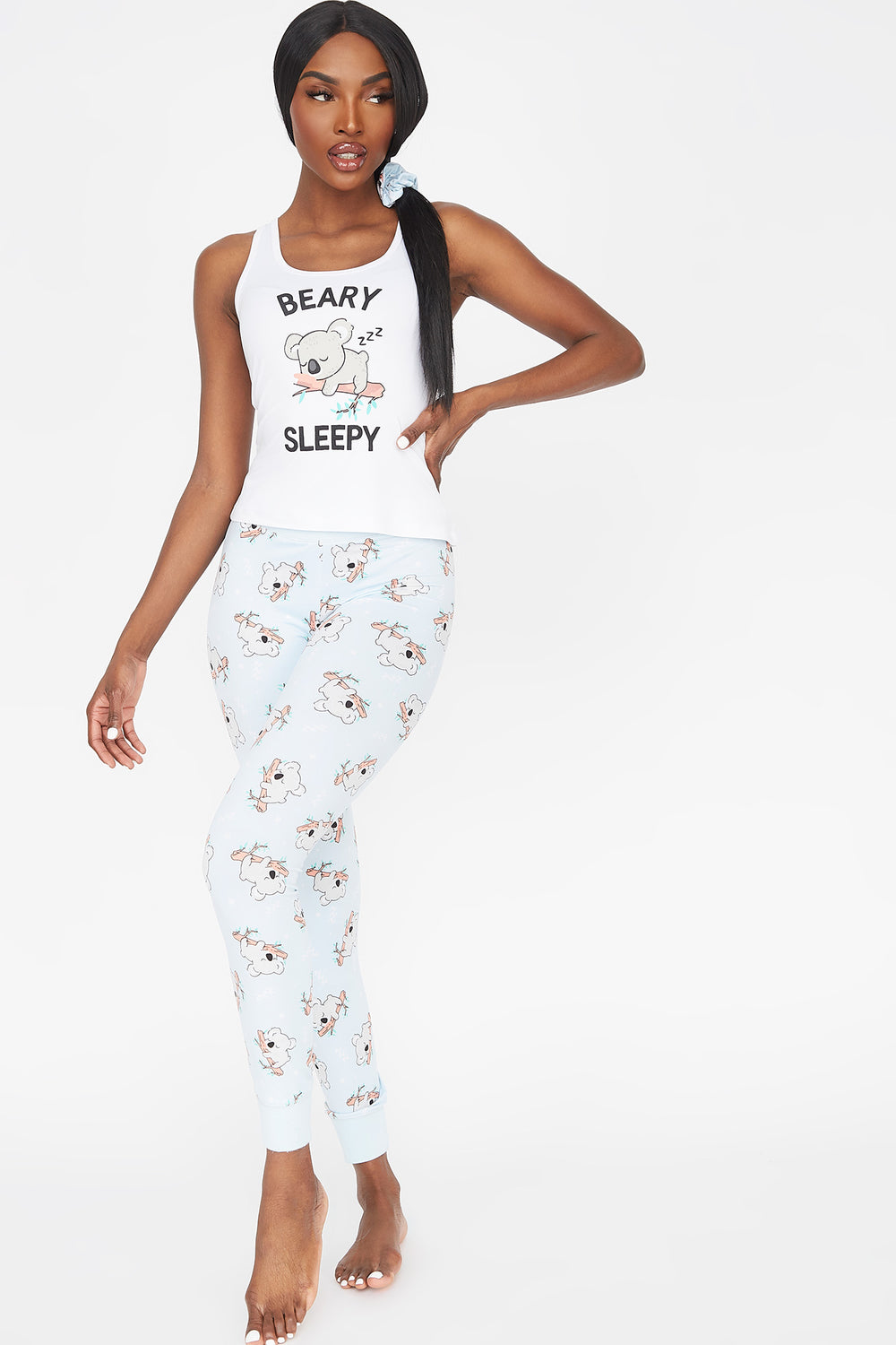 Soft 3-Piece Graphic Beary Tank And Printed Legging With Scrunchie Pajama Set White
