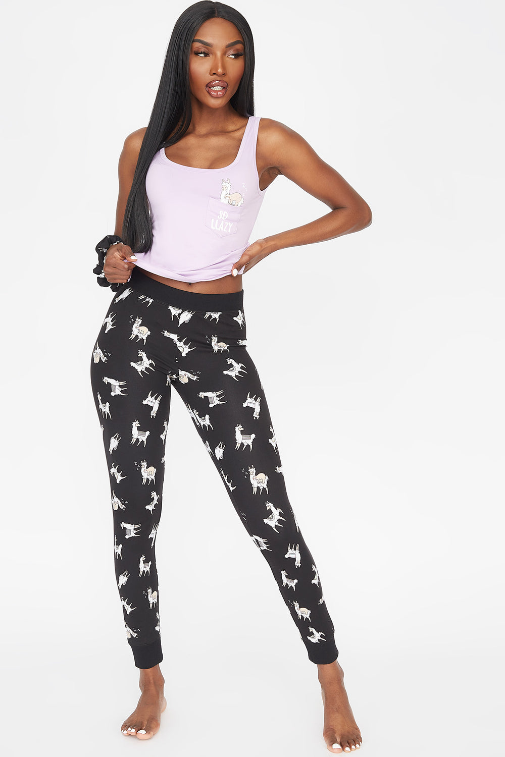 Soft 3-Piece Graphic Lazy Tank And Printed Legging With Scrunchie Pajama Set Purple