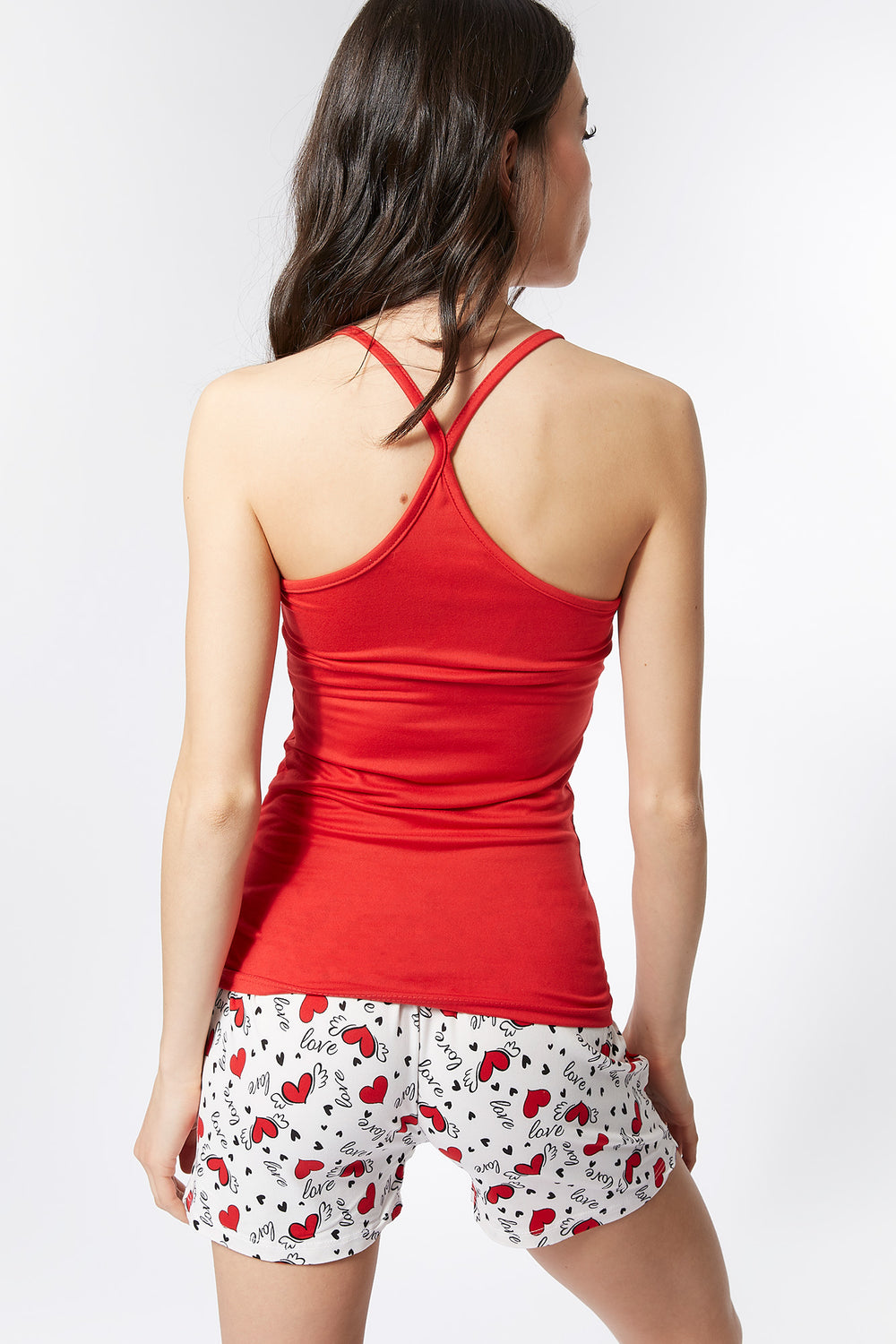 Soft 2-Piece Follow Your Heart Graphic Cami And Printed Short Pajama Set Red